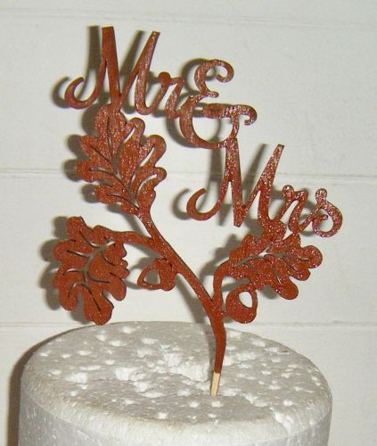 Mr + Mrs Acorn and Leaves Autumn Fall Cake Topper