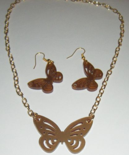 Butterfly Earring and Pendant set  Necklace