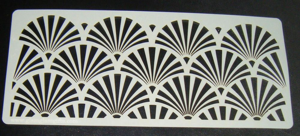 Art deco Fan Design 5 inch Deep Cake decorating stencil Airbrush Mylar Pol