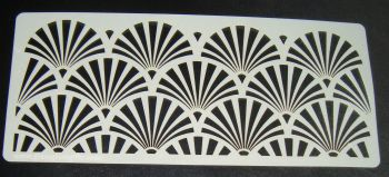 Art deco Fan Design 5 inch Deep Cake decorating stencil Airbrush Mylar Polyester Film