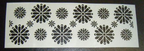 Floral Offset Mixed Daisy Pattern Cake Decorating Stencil 4 inch deep
