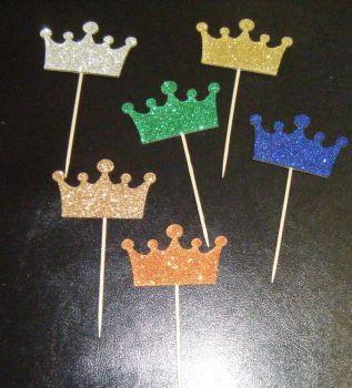 Glitter or Plain Card Crown cupcake picks