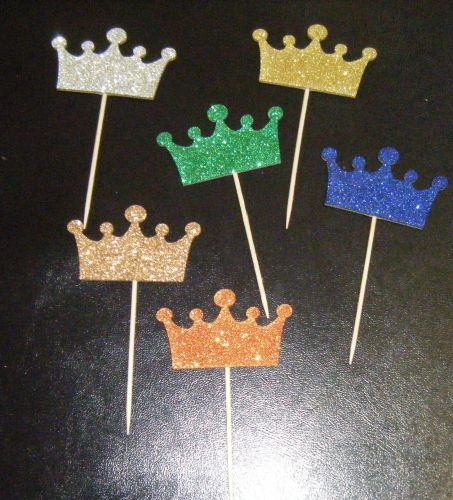 Glitter or Plain Card Crown cupcake picks