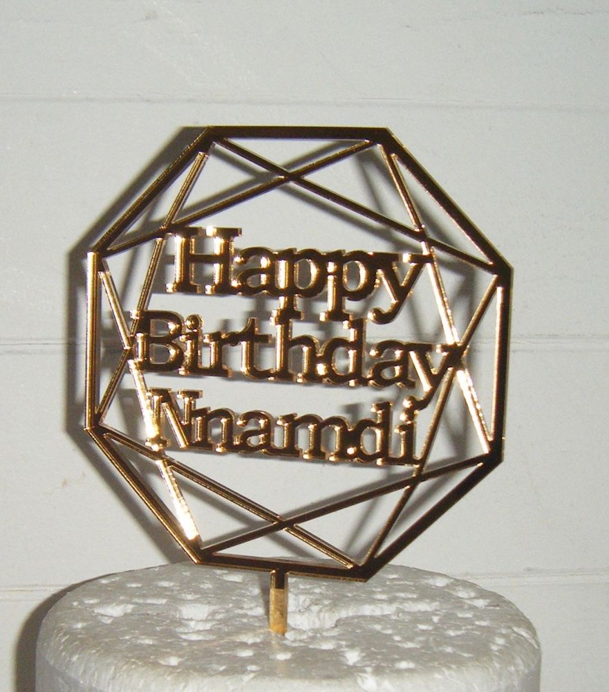 Geometric Happy Birthday and Name Topper Custom made