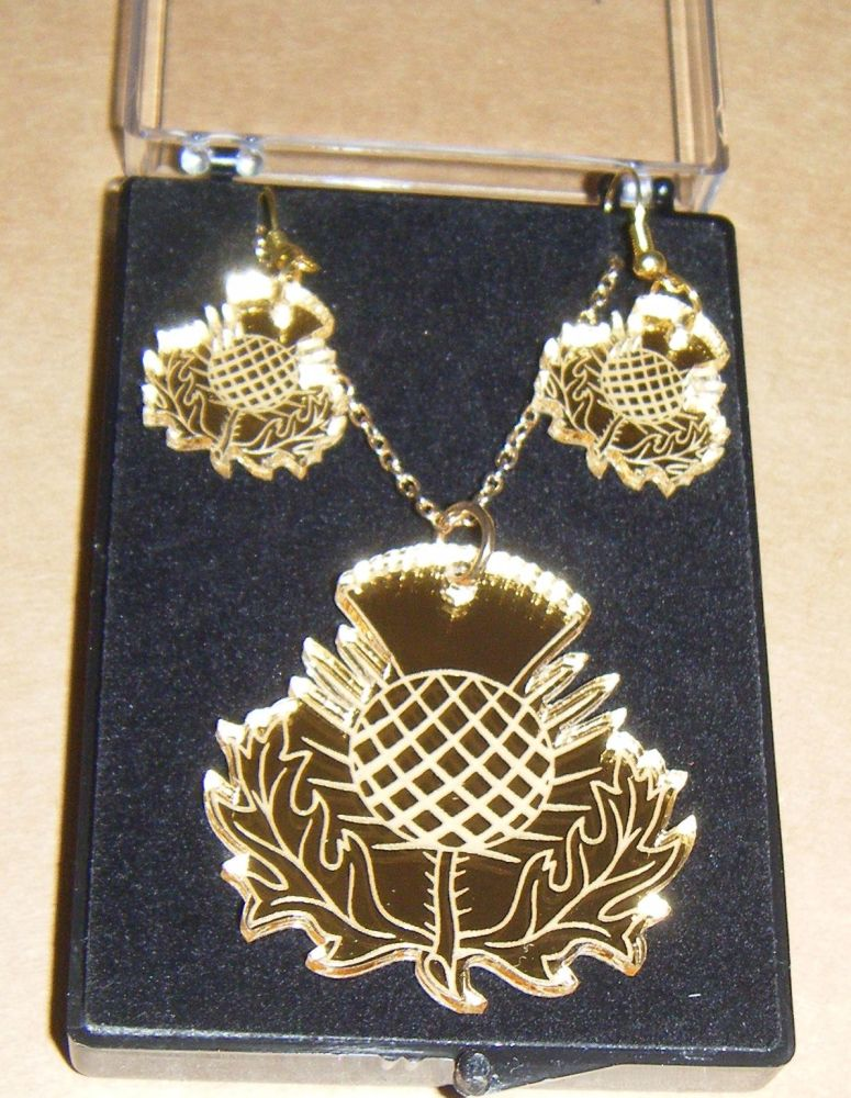 Scottish Thistle Earring and Pendant set Necklace