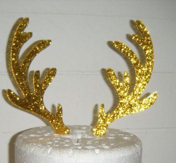 Reindeer Antlers Silhouette Cake Topper