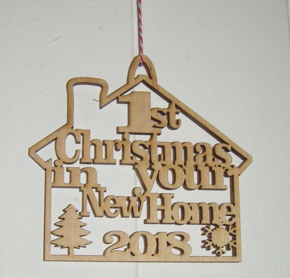 1st Christmas 2021 In New Home House - Tree Bauble Decoration - Wood