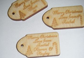 Christmas Wooden Mini Gift Tag - Wording of your choice