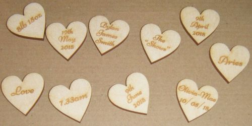 Wooden Mini Heart Gift Tag - Custom made with names etc