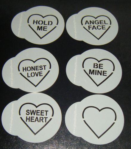 6 x Love Heart Valentines Designs Cupcake Stencils 2