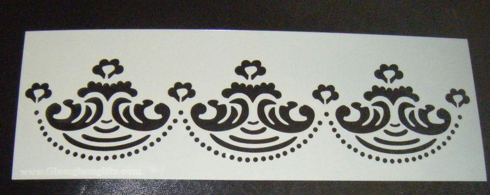 Floral Swash Design Cake decorating stencil Airbrush Mylar Polyester Film