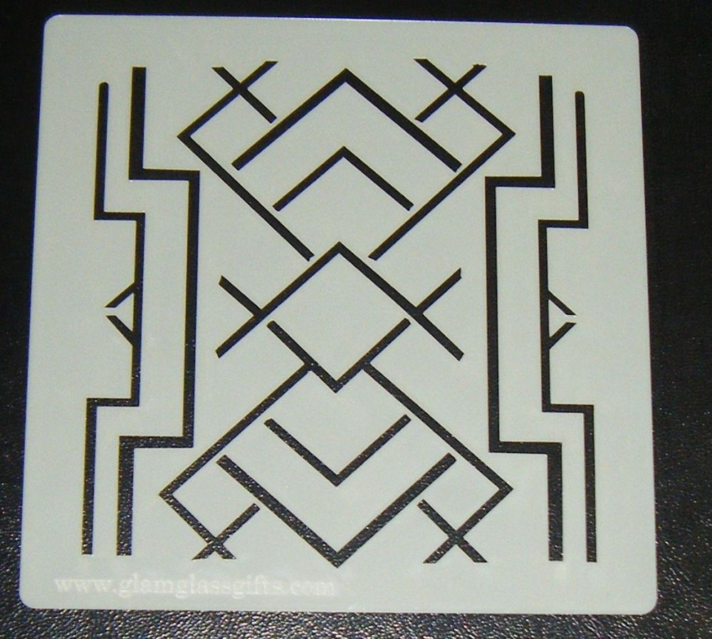 Art Deco squares 5 inch Pattern Cake decorating stencil Airbrush Mylar Poly