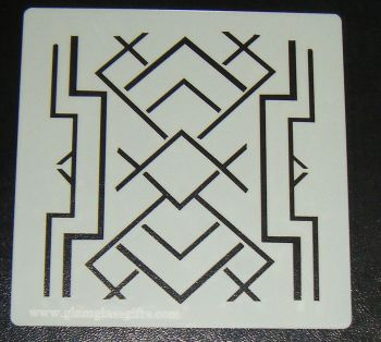 Art Deco squares 5 inch Pattern Cake decorating stencil Airbrush Mylar Polyester Film