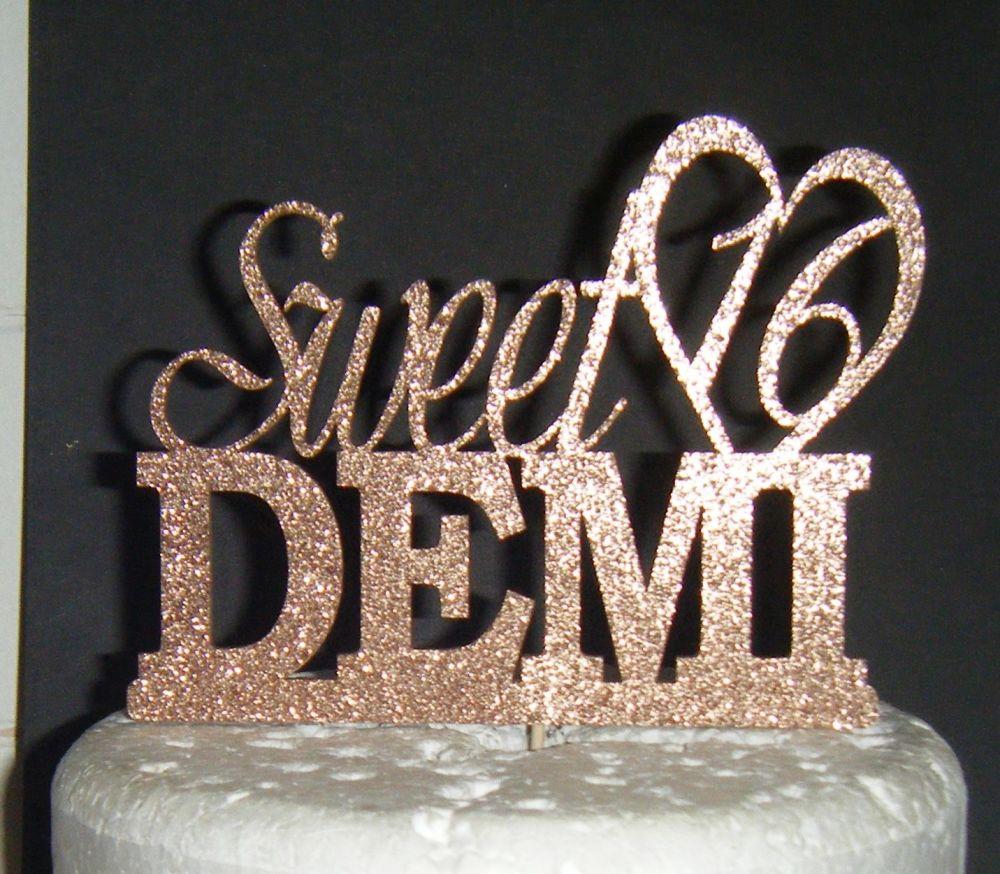 Sweet 16 Custom Name with Heart Cake Topper