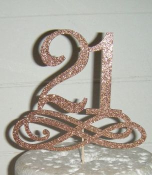 21 18, 30, 40, etc or any number with Swirls Base Cake Topper