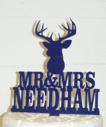 Mr + Mrs Name Stag Head Cake Topper