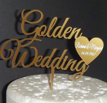 Golden anniversary  with Names in Heart Cake Topper