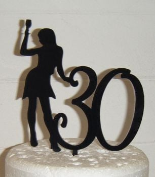 ANY Number 30or 21, 18, 40, 50, etc with Woman with drink Cake Topper