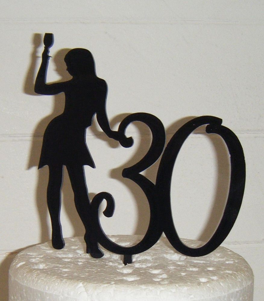 ANY Number 30 or 21, 18, 40, 50, etc with Woman with Drink Cake Topper