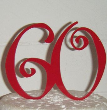 60 Cake Topper 6  (Sold design Exactly as shown)