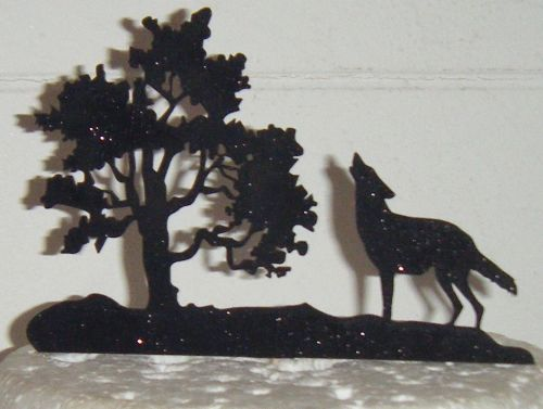 Wolf Howling and Tree Silhouette Cake Topper