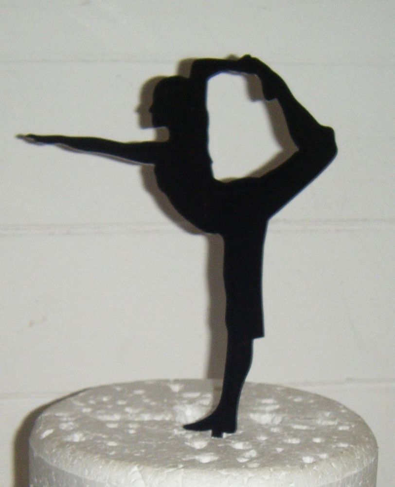 Yoga Pose Woman Silhouette Cake Topper