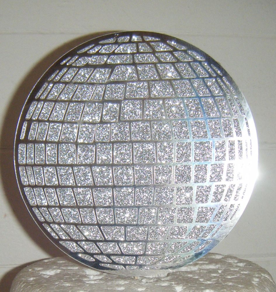 Glitterball Disco Circle Ball as shown only in card Cake Topper