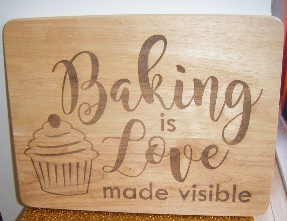 Wooden Chopping Board - Baking is Love
