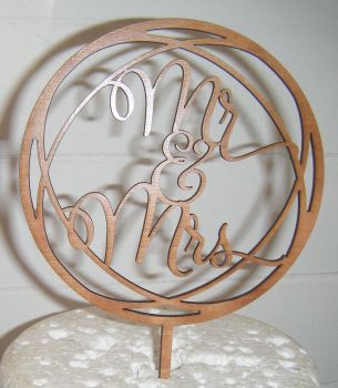 Mr and Mrs Circle Cake Topper