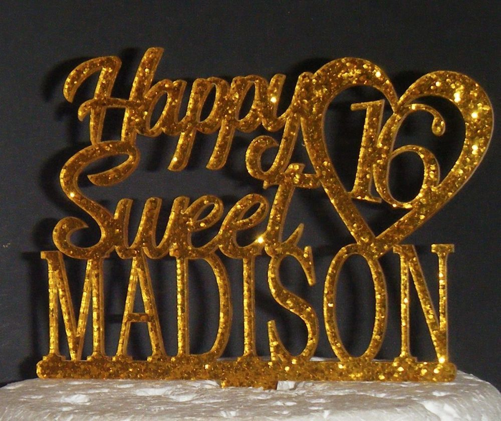 Happy Sweet 16 Custom Name with Heart Cake Topper