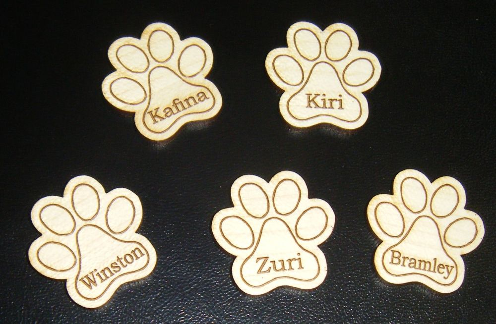 Wooden Mini Paw Print Gift Tag - Custom made with names etc