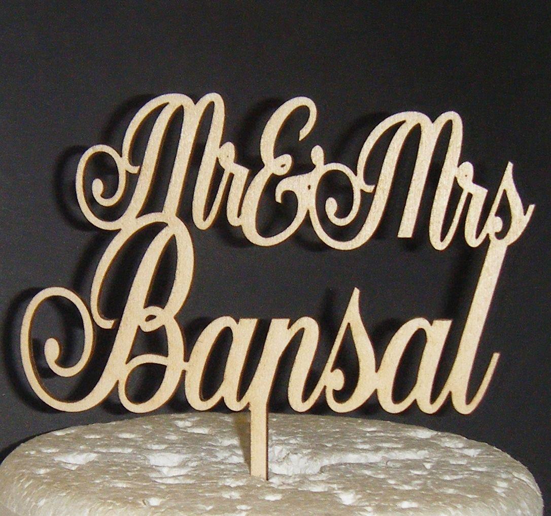 Mr + Mrs Name Cake Topper 3  (or same sex)