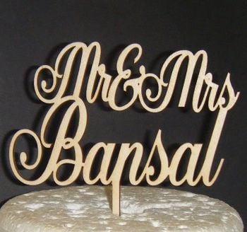 Mr + Mrs Name Cake Topper 3  (or same sex)