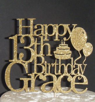 Balloons Cake Happy Birthday and Name Topper Custom Made