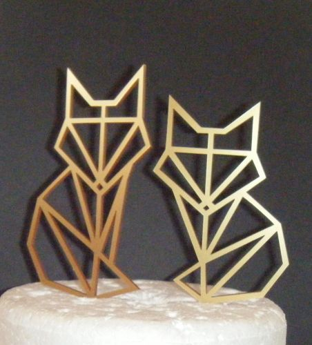 Fox Couple Geometric  Silhouette Cake Topper