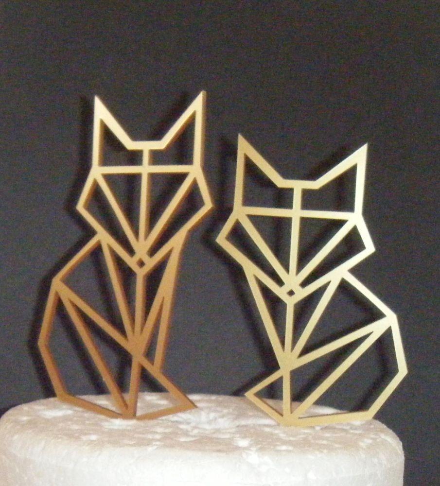 Fox Couple Geometric  Silhouette Cake Topper