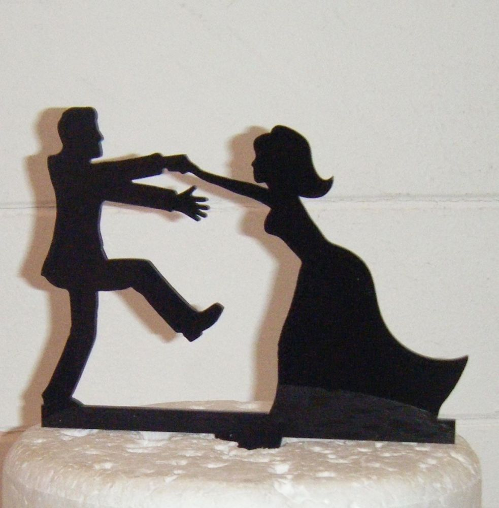 Bride Pulling Groom Silhouette Cake Topper