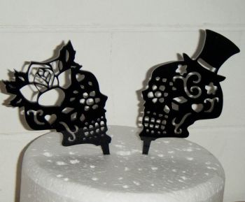 Sugar Skulls Couple Wedding Cake Topper