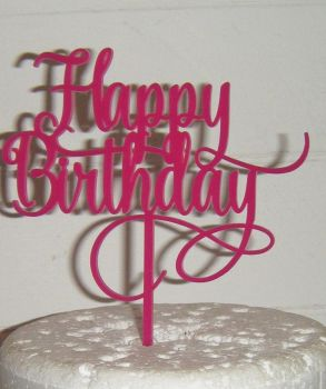 Happy Birthday Cake Topper Swirly design 2