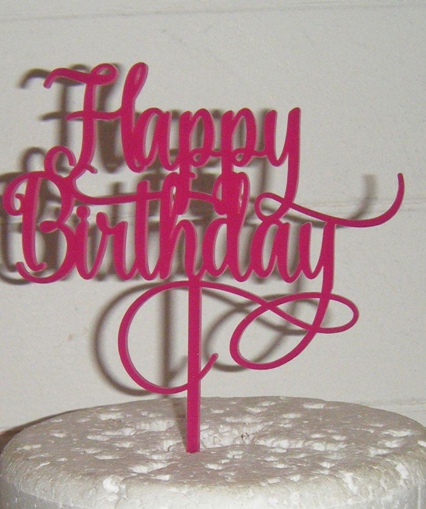 Happy Birthday Cake Topper Swirly design 2