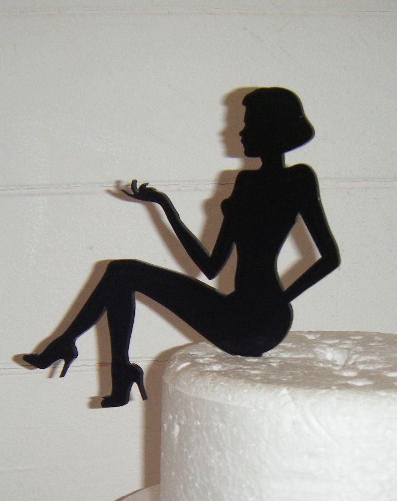 Woman Sitting Short Hair Silhouette Cake Topper