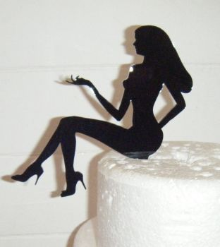 Woman Sitting Long Hair Silhouette Cake Topper