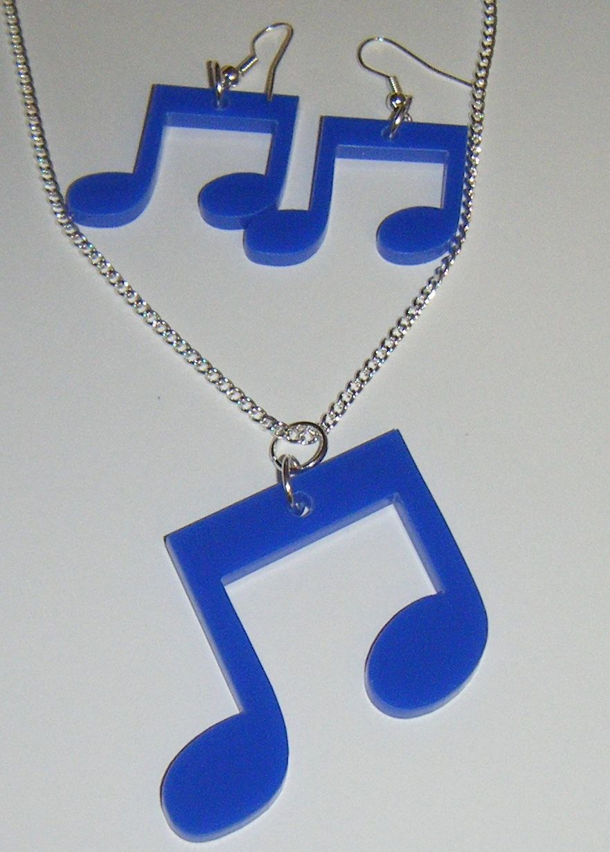 Music Note Earring and Pendant set Necklace