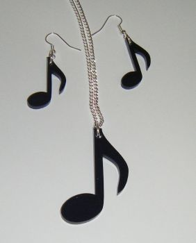 Music Note Earring and Pendant set Necklace Set 2