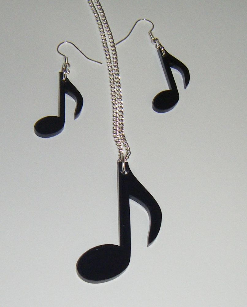 Music Note Earring and Pendant Necklace Set 2
