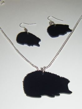 Hedgehog Earring and Pendant set Necklace