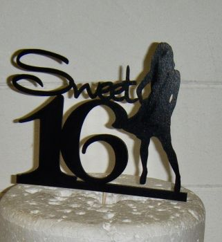 Sweet 16 Cake Topper with Girl Silhouette