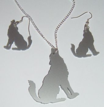 Wolf Earring and Pendant set  Necklace