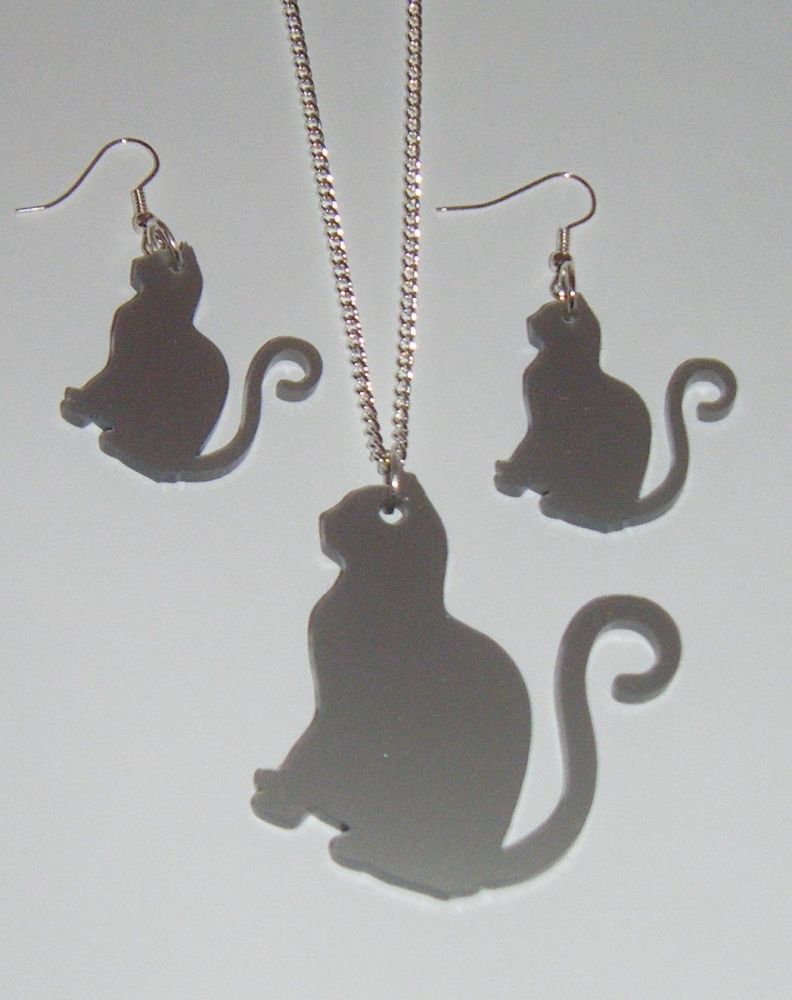 Cat Earring and Pendant set  Necklace