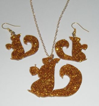 Squirrel Earring and Pendant set  Necklace
